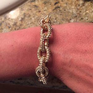 JCrew Gold and Crystal bracelet